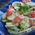 Cucumber-Tomato salad with mayonnaise