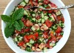 Salad with cucumbers and tomatoes cooked in turkish style